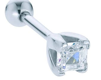 Diamond Princess Cut 14K White Gold Cartilage Stud Earring .18CT