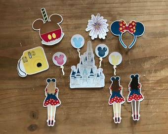 Disney inspired die cuts, stickers. Perfect size for decorating a scrapbook, memory book, planner or pary decorations.