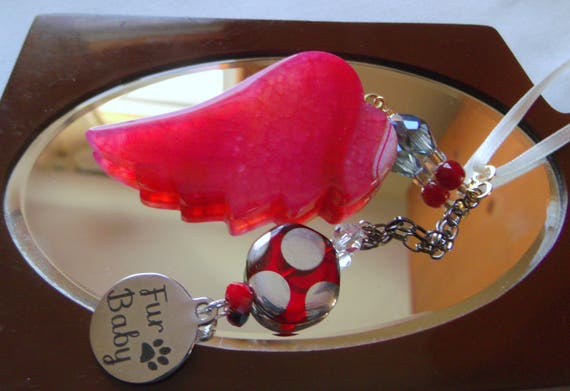 Pet loss gift - crimson red agate wing - memento - flame red angel wing - dog /cat memento - pet sympathy gift - rainbow bridge charm