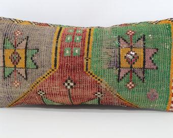 12x24 Turkish Kilim Pillow Floor Pillow Embroidered Multicolor Kilim Pillow 12x24 Lumbar Kilim Pillow Cushion Cover SP3060-915