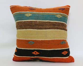 Striped Kilim Pillow Sofa Pillow Decorative Kilim Pillow 20x20 Handwoven Kilim Pillow Ethnic Pillow Floor Pillow Cushion Cover SP5050-1867