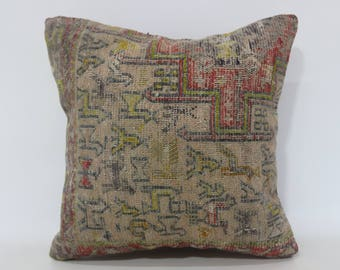 16x16 Vintage Rug Pillow Faded Pillow 16x16 Turkish Rug Pillow Sofa Pillow Ethnic Pillow Home Decor Pillow Cushion Cover SP4040-3101