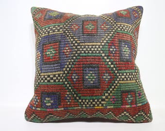 Turkish Embroidered Kilim Pillow Sofa Pillow 24x24 Naturel Kilim Pillow Home Decor Cushion Cover Boho Pillow Cushion Cover SP6060-1421