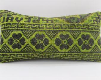 10x20 Floral Kilim Pillow Striped kilim Pillow Geometric Pillow 10x20 Turkish Kilim Pillow Sofa Pillow Throw Pillow Boho Pillow  SP2550-1752