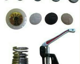 Professional cladding press button tool button press machine Kit * includes fabrics embellished embroidery flowers