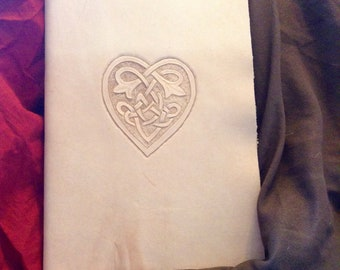 Celtic Heart Leather Journal with Parchment Paper