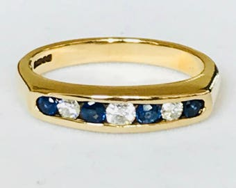 Stunning vintage 9ct gold diamond and sapphire half eternity ring - 1997
