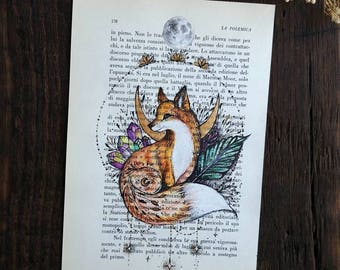 Original painting, red fox with floral decorations, art on book page, Animal spirit