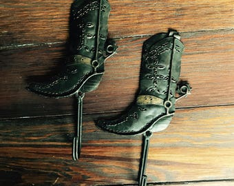 Metal Cowboy Boot Wall Hooks