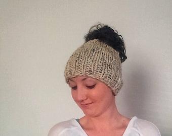 50% OFF SALE Knit Messy Bun Hat, Knit Ponytail Hat Harlan Bun Hat - Oatmeal