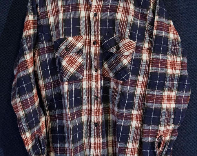 Vintage Big Mac Flannel Brown White and Blue Plaid Made in USA Size Medium