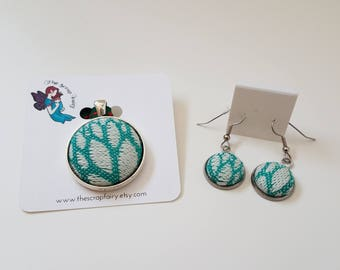 Wrap Scrap Jewelry - Set - Pendant - Earrings - Baie Slings - Paradise Nature - Wrap Scrap - Babywearing - Turquoise