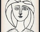 PABLO PICASSO 1950 Lithograph w/COA. Jeune fille 1945 Picasso Art Print. Unique Gift Idea of Very Rare Art. Exclusive Present Free Shipping
