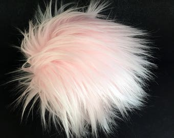 Faux Fur Pom Poms in Cotton Candy- Two Sizes