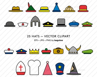Hat Clip Art, Hats Clipart, Hat Icons, Vector Illustration, Cap Crown Beret Helmet Headpiece, EPS JPG PNG Files, Digital Instant Download
