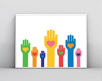 Color Hands with Hearts in the Palm, Love Print, Equality Wall Art, No Racism, Solidarity, Nursery Decor, Printable Poster, Digital Download