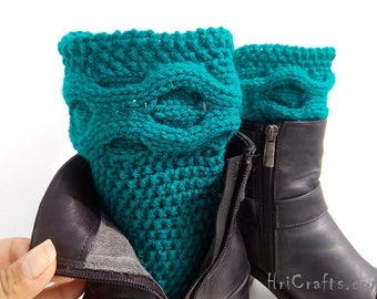 Knitted boot cuffs Knitted boot toppers Leg warmer Boot socks Cable knit toppers Hand knit Fashion accessory Women's Knit Boot Cuffs