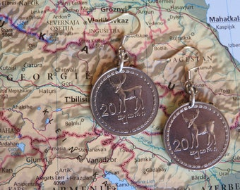 Georgia coin earrings - stag/deer - made of coins from Georgia - wanderlust - travelgift - Fernweh - Africa