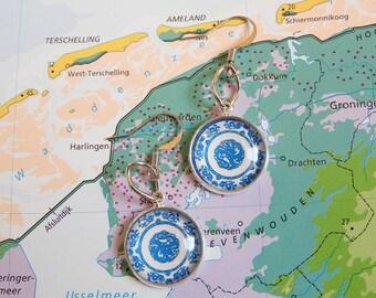 Delfts blauw Mandala oorbellen  5 keuzes  uit de Made in  Holland collectie