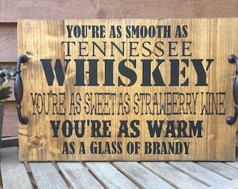 Chris Stapleton Tennessee Whiskey Bar tray,farmhouse decor,Rustic bar tray,country music lyrics,strawberry wine,Nashville sign,mancave tray