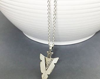 Arrowhead  Pendant, Silver Arrowhead Necklace, Simple Silver Jewelry, BoHo necklace, Silver Pendant Necklace, Gift for Him, Gift for Her