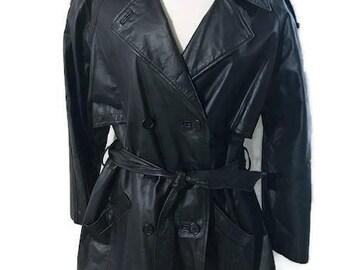 Black Leather coat Vintage Women's coat Full knee Length style Trench SZ L