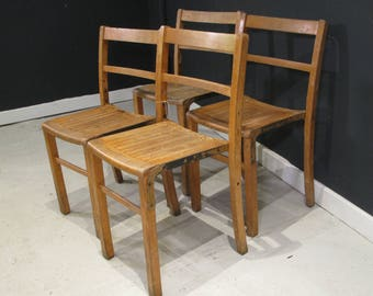 Set of 4x Stacking Beech Vintage chairs
