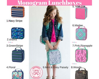 Monogram Lunch Box, Personalized Lunch Box, Monogram Lunch bag, Insulated bag, summer camp