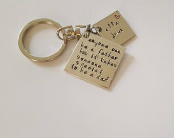 Fathers Day Gift // Keyring for Dad  // Personalized Gift for Dad // Keyring with Hand Stamped Sentiments. For Dad.