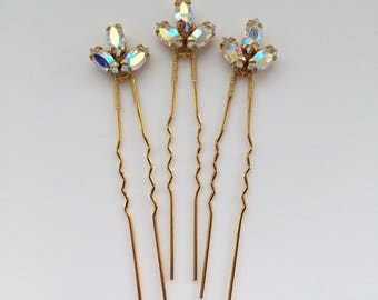 Bridal hair pins, bridesmaid hair pins, crystal hair pins, gold hair pins