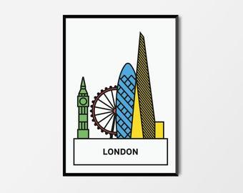 London, Pop Print LDN   London Artwork   London Illustration   Architecture Print   Kids Print