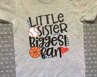 Little Sister Biggest Fan youth t-shirt