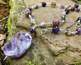 Amethyst Gemstone Necklace | Sterling Silver | Etched Jade | Natural Stones