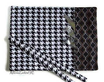 Practical placemat with utensils holder pouch - houndstooth and geometric black white gold, Black & white mini-collection