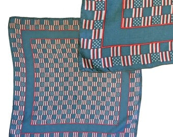 Vintage Red, White & Blue Patterned Square Silk Scarf — 20""