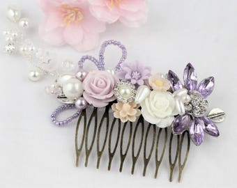 Ivory Lilac Pale pink wedding comb, Romantic hair pin, Bridal gift comb, Rustic bridal comb. Bridesmaids gift, Purple ivory Wedding comb
