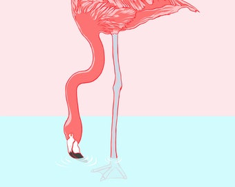 Bottoms Up! - Flamingo Themed Greetings Card - Birthday Card -Greetings Card - A6 Card