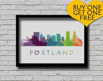 Cross Stitch Pattern Portland Oregon Silhouette Watercolor Effect Decor Embroidery Modern Ornament Usa City Skyline xstitch Diy Chart