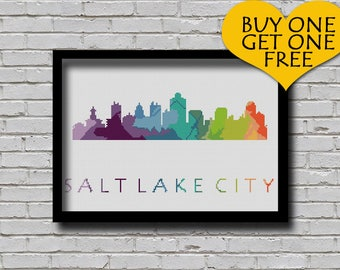 Cross Stitch Pattern Salt Lake City Utah City Silhouette Watercolor Painting Effect Modern Embroidery Usa City Skyline Xstitch
