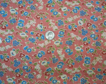 Vintage 1930s Cotton Feedsack Fabric - Pink Background with Blue, Red and White Flowers - Partial Feedsack