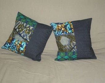 2 cushions Akwaba Creations patchwork jeans