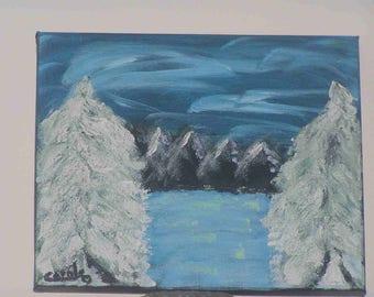 """Landscape"" acrylic painting on canvas frame (25 x 30 cm)"