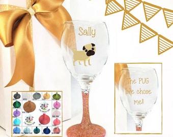 Dog lover wine lover, personalised pug gift, pug birthday, pug decor, pug lover gift,  gift for dog lover wine glass, gift for dog owner,