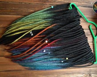Set of wool DE dreads black to blue yellow green orange double ended dreadlocks by Alice Dreads