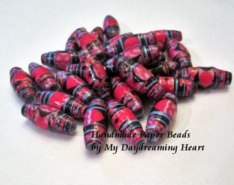 28 Loose Paper Beads Barrel Paper Bead Lot Jewelry Craft Supply Black Red Periwinkle Handmade Made In USA Maine My Daydreaming Heart Blog
