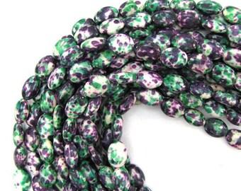 "14mm green purple jade flat oval beads 16"" strand 13048"