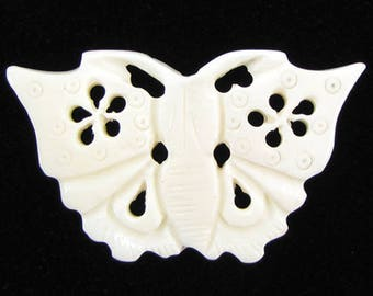 52mm white bone carved butterfly pendant bead 16191