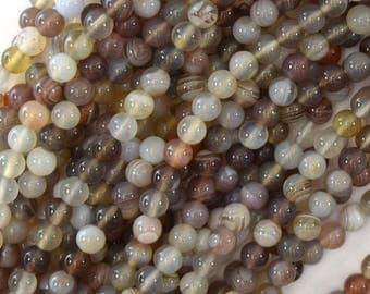"4mm natural botswana agate round beads 15.5"" strand 39602"