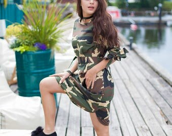 Camouflage  cotton bohemian  dress with bows on the sleeves! Comes with the belt! Fabric-cotton!