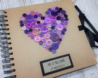 Personalised Wedding Guest Book - Rustic Wedding Guest Book - Purple Buttons Wedding Guest Book - Wedding Scrapbook
